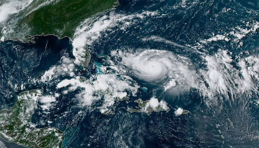 Hurricane Dorian looms off the Florida coast on Aug. 30, 2019. NOAA