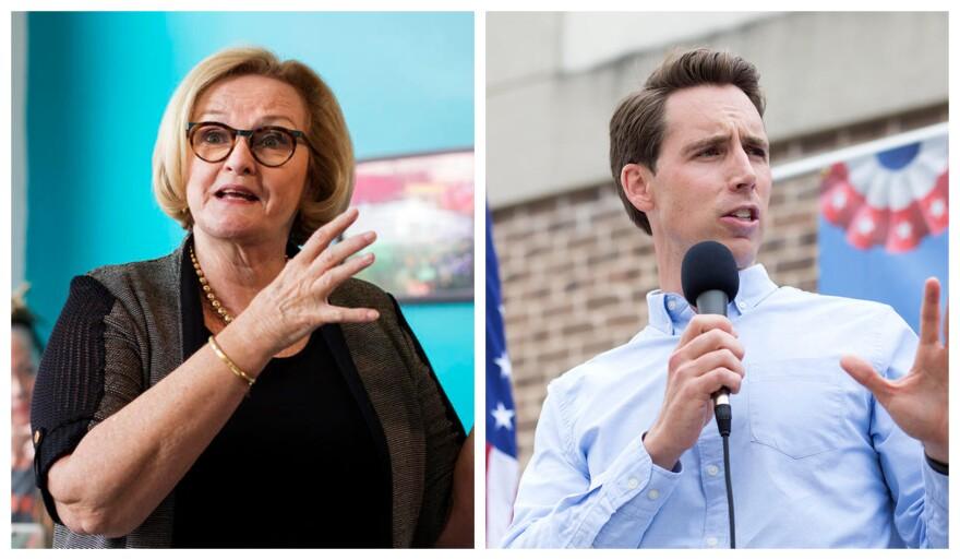 U.S. Sen. Claire McCaskill and Attorney General Josh Hawley spoke in the St. Louis area on Aug. 30, 2018.