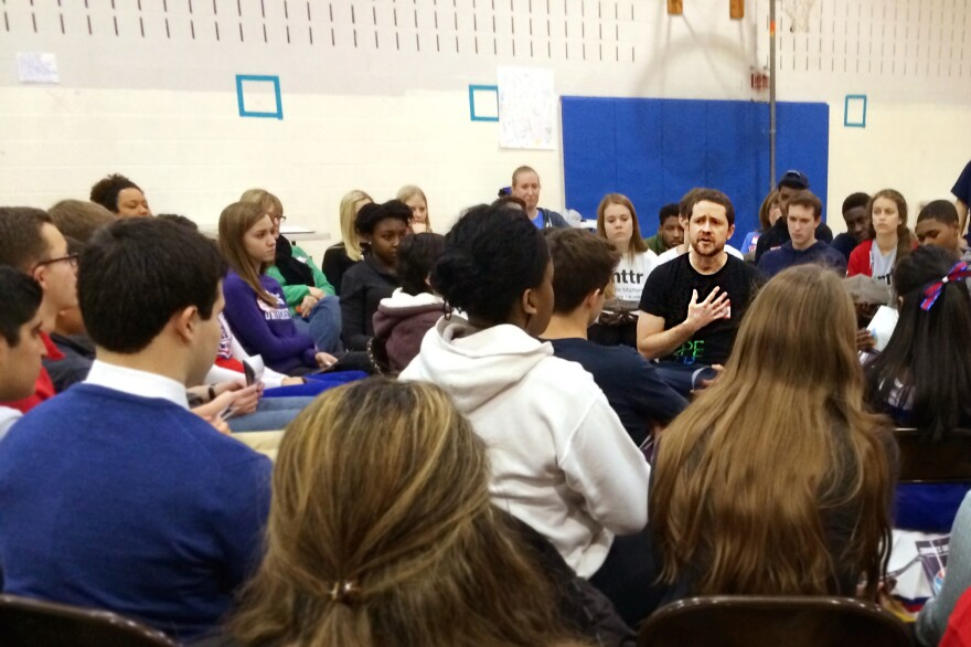 Dan Adams, a national trainer with Sources of Strength, leads a discussion with student peer-leaders at Wootton High School in Rockville, Md.