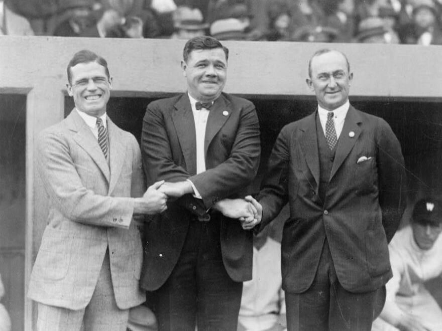Baseball stars (from left) George Sisler, Babe Ruth and Ty Cobb watch the 1924 World Series. Cobb never played on a championship team, himself.