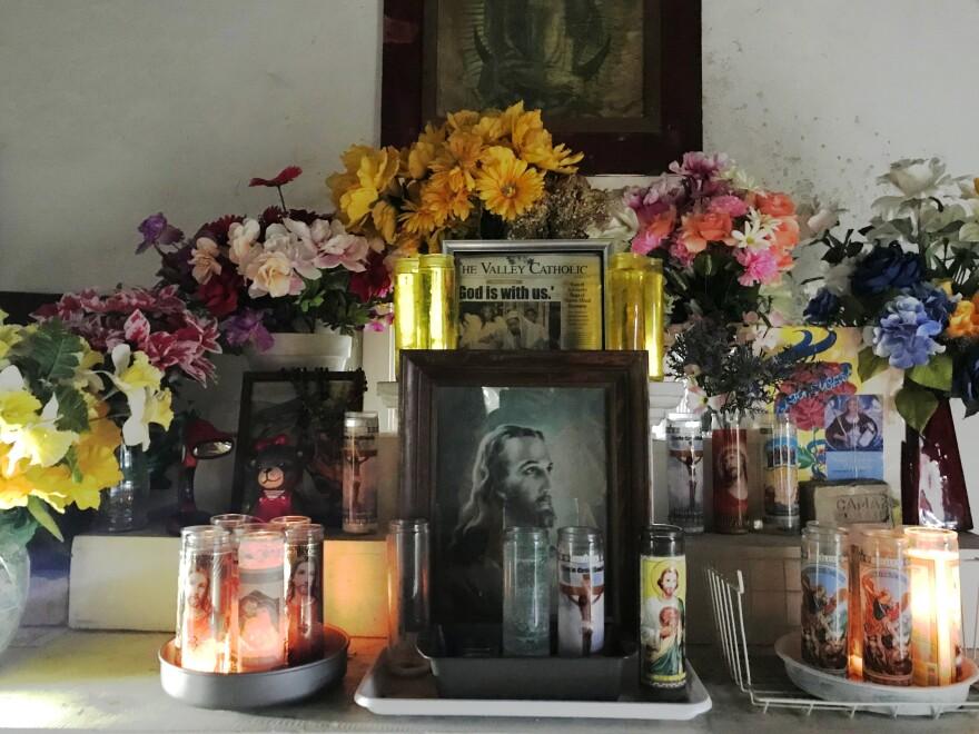 The altar inside La Lomita chapel.