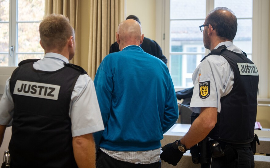 The supermarket poisoner, shown here during a court hearing earlier this month in Ravensburg, Germany, was found guilty of attempted murder.