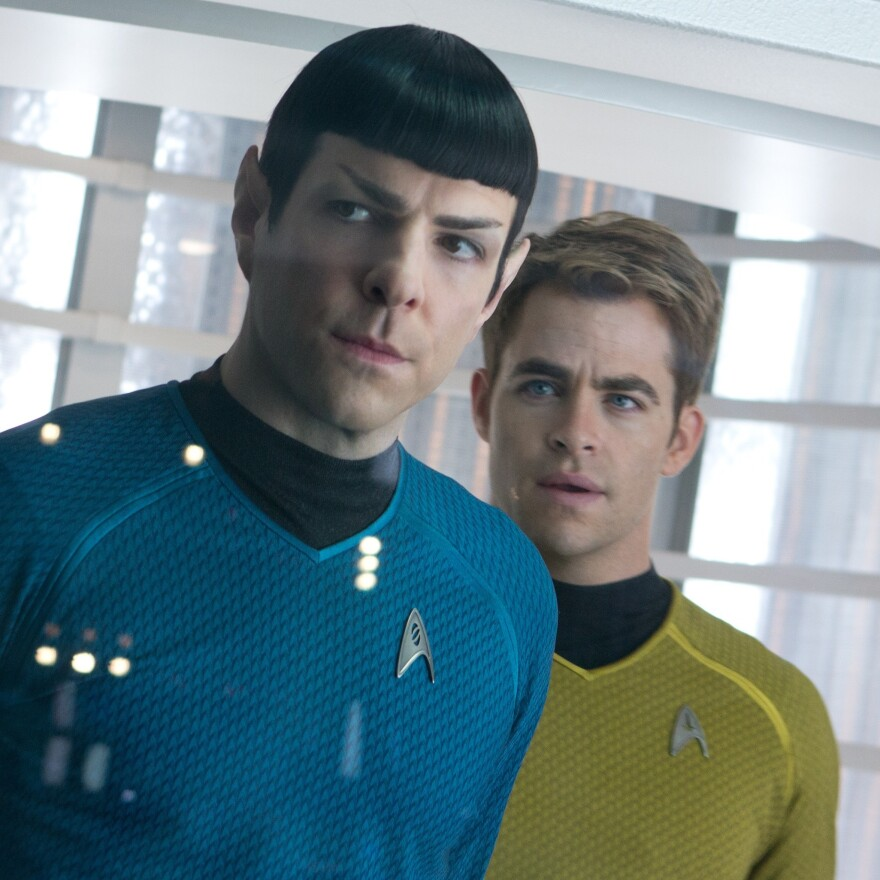 Quinto (left) as Spock, with Chris Pine as Kirk, in <em>Star Trek: Into Darkness.</em>