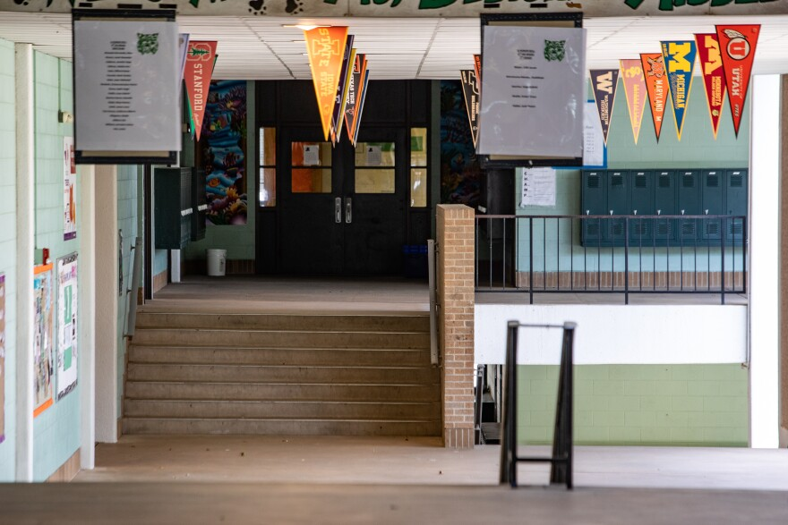 Empty hallways in Bedichek Middle School in South Austin during the coronavirus pandemic.