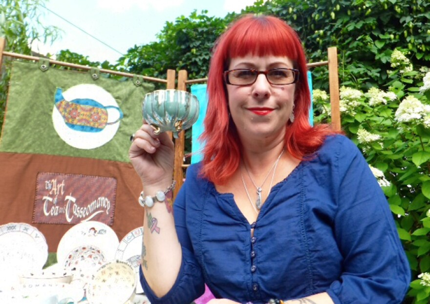 """Tasseomancer Amy Taylor hosts readings at festivals, parties and other events out of her little """"traveling tea room"""" in Hamilton, Ontario."""