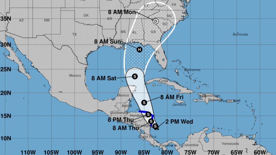 Tropical Depression 16 is heading for the coasts of Nicaragua and Honduras — and it is predicted to become a hurricane after it reaches the Gulf of Mexico, the National Hurricane Center says.