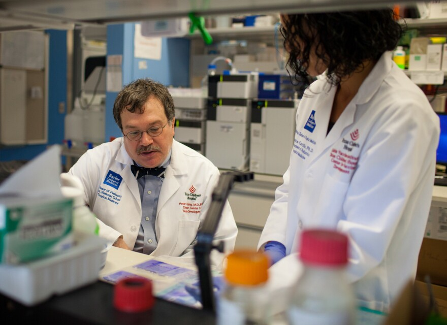 Hotez and Berenice Carrillo in the lab at Texas Children's Hospital. Among the diseases they're researching is river blindness, transmitted through the bite of a black fly infected with parasitic worms.