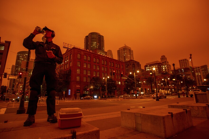 Smoky skies cast a reddish glow to San Francisco skies when the northern California wildfires were burning earlier this year.