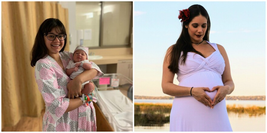 Kelsey Owens, left, with newborn Elliana Rose; and Samantha DeBacco, two young women related to WLRN's Christine DiMattei.
