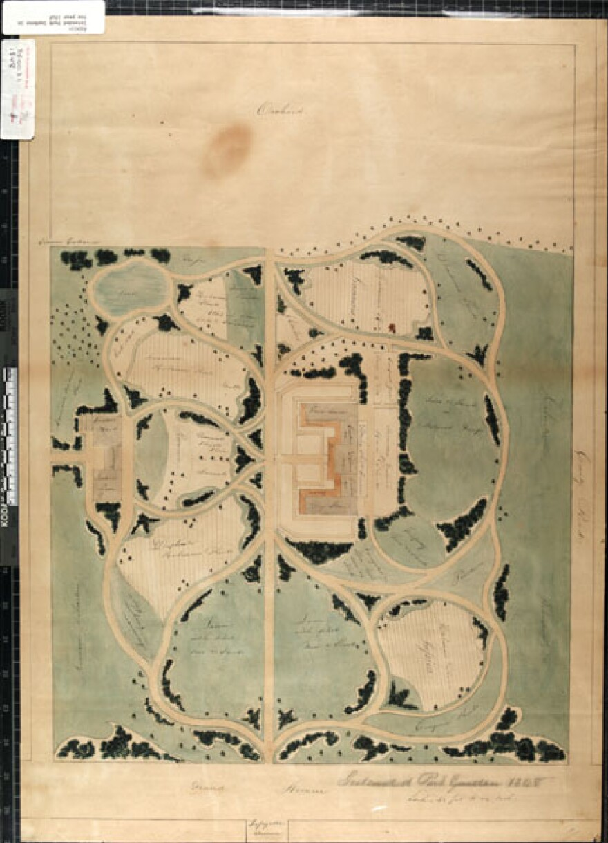 Early plans for a proposed park garden, east of the existing garden