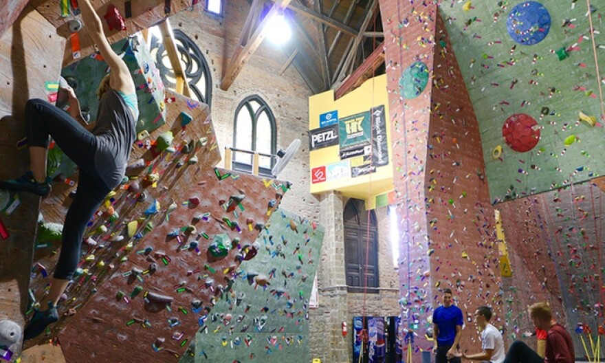 Developers and private individuals are repurposing old church buildings for a variety of uses, including housing, retail and restaurants. Urban Krag climbing gym in Dayton, Ohio, shown here, is housed in what was once an abandoned church.