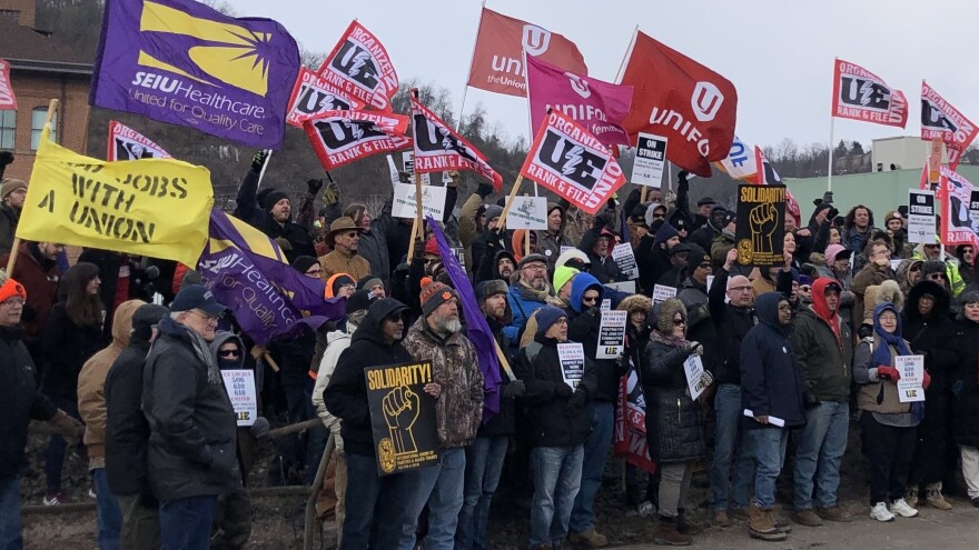 Union members and activists protest over contract negotiations with Wabtec Corporation in Wilmerding, Pa., on March 6. Many are workers from one of the company's facilities in Erie County, which flipped from voting for Barack Obama to Donald Trump in 2016.