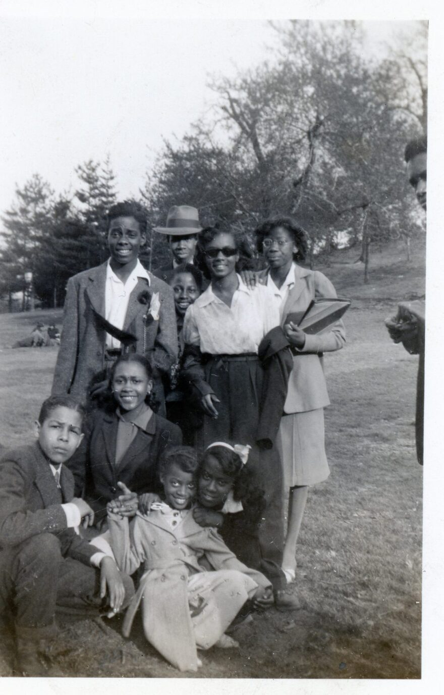 Laura Fitzpatrick's photograph of Faye Howell with a group of her friends in the park in 1942. (Courtesy Daniel S. Evans)