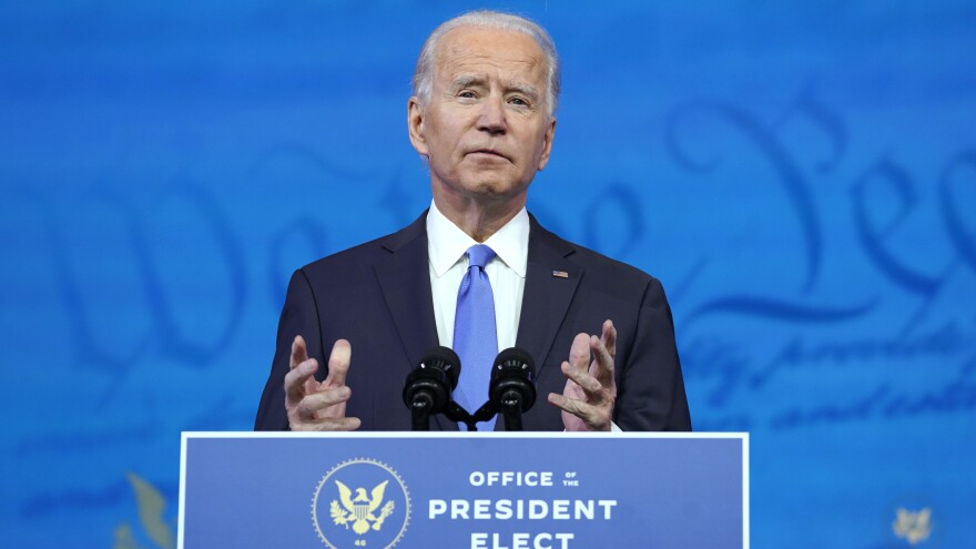 President-elect Joe Biden, pictured on Monday, says he plans to publicly get vaccinated for the coronavirus.