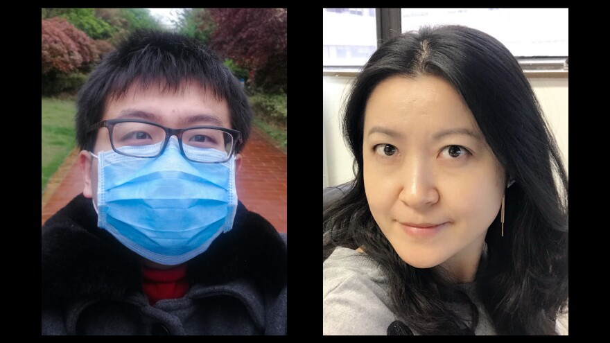 Left: Xi Lu traveled to Wuhan from London in January to spend Lunar New Year with his parents, having not shared  the holiday with them in over 7 years. Lin Yang, an epidemiologist at Hong Kong Polytechnic University, traveled to Wuhan to visit her parents for the Lunar New Year. And then ... they couldn't get back home because of the quarantine.