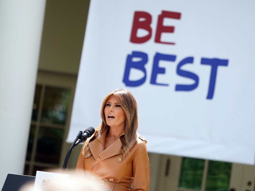 """First lady Melania Trump speaks about her """"Be Best"""" initiative in the Rose Garden of the White House on May 7."""