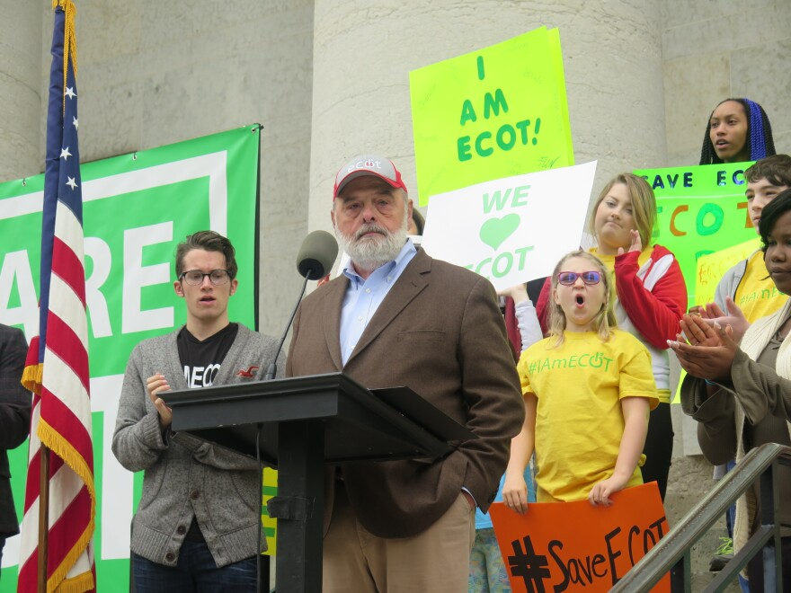 ECOT founder Bill Lager speaks to a crowd of supporters of the online charter school at a Statehouse rally in May 2017.