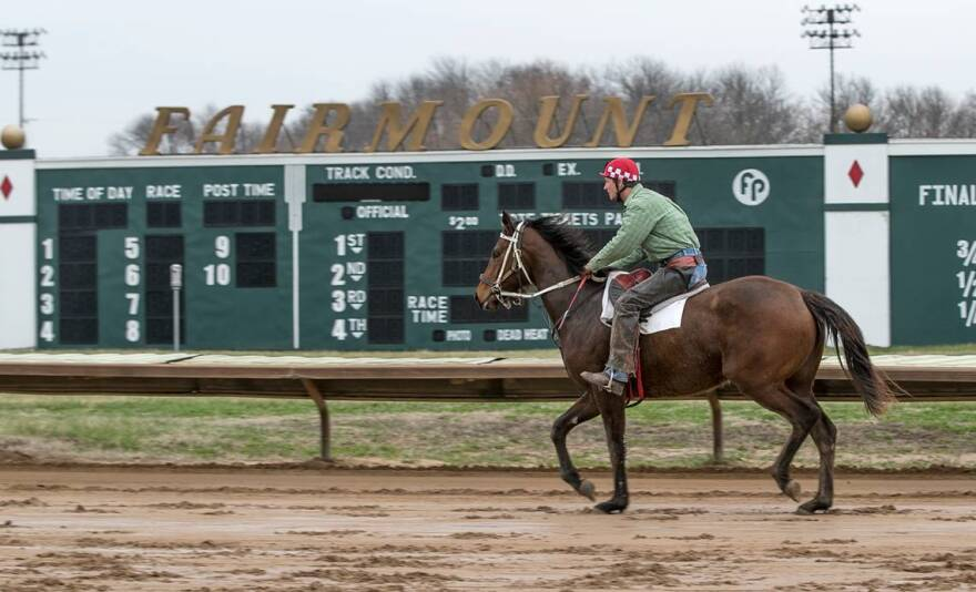 In March 2019, a trainer works out a horse at Fairmount Park racetrack in Collinsville. The Illinois Racing Board recently approved the track's plan for 60 live racing days in 2020.