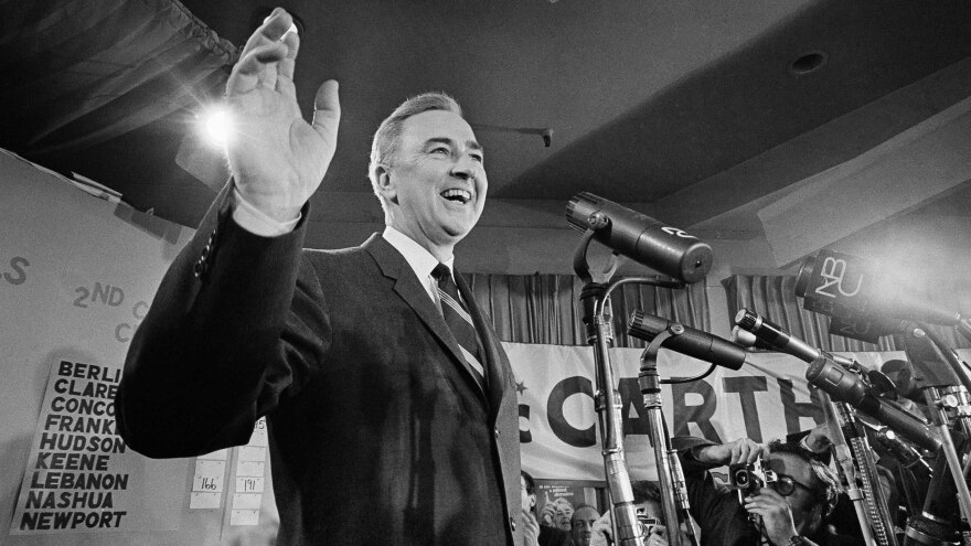 In 1968, Sen. Eugene McCarthy won 42 percent of the vote in the New Hampshire primary. President Lyndon Johnson got 49 percent, but within a few weeks, Johnson had announced he would not run for re-election.