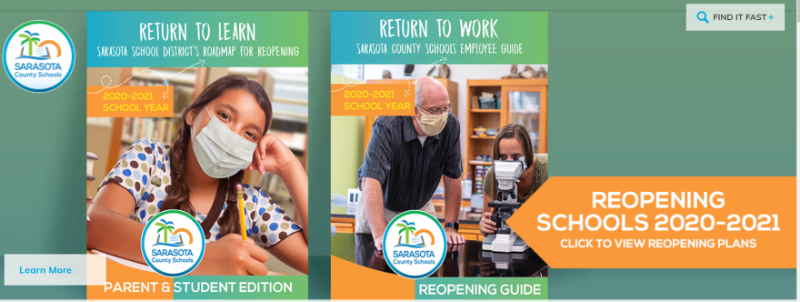 A school girl in a mask and a teacher in a mask are featured on the Sarasota school district homepage