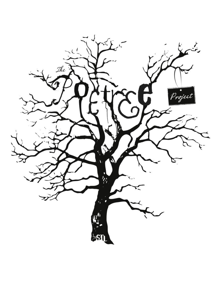 Poetree logo/ barren tree with poem hanging