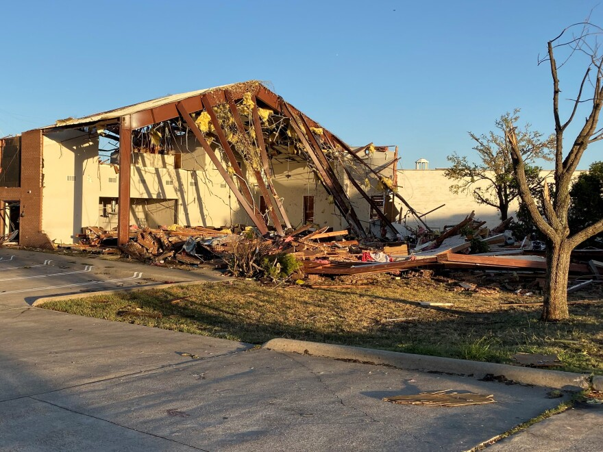 Among the buildings damaged: the Iglesia Cristiana Emanuel - Dios Con Nosotros on Walnut Hill Lane and Betty Jane Lane in Dallas.