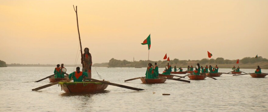 A fan of magic realism, director Amjad Abu Alala said this boating scene in his film is intended as a salute to Emir Kusturica's <em>Time of the Gypsies.</em>