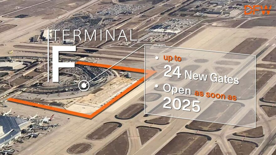 A slide from a presentation given by DFW Airport CEO Sean Donohue during the announcement of Terminal F on Monday, May 20, 2019.