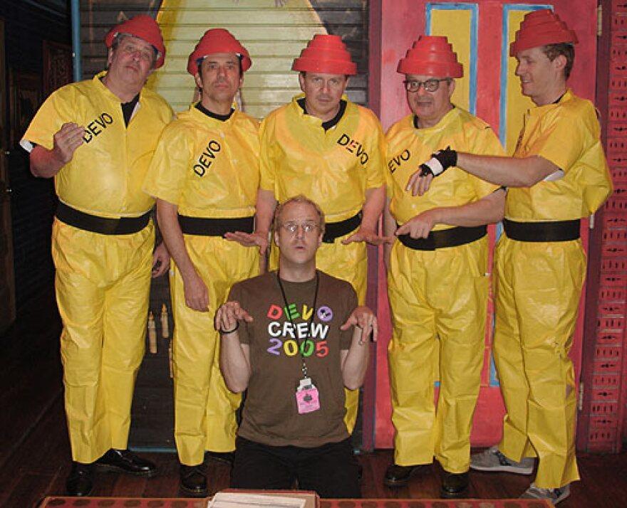 Michael Pilmer with members of DEVO