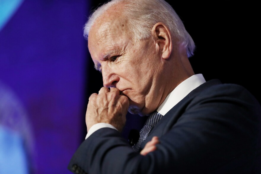 Democratic presidential candidate and former Vice President Joe Biden pauses while speaking at the SEIU Unions for All Summit in Los Angeles last week.