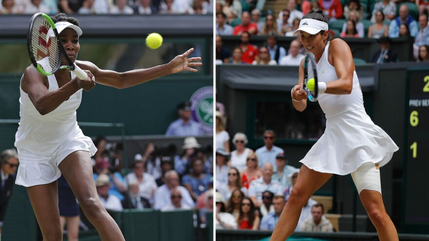 Venus Williams and Spain's Garbine Muguruza each compete in the 2017 Wimbledon Championships at The All England Lawn Tennis Club in Wimbledon, southwest London. Williams will face Muguruza in the women's singles final on Saturday.