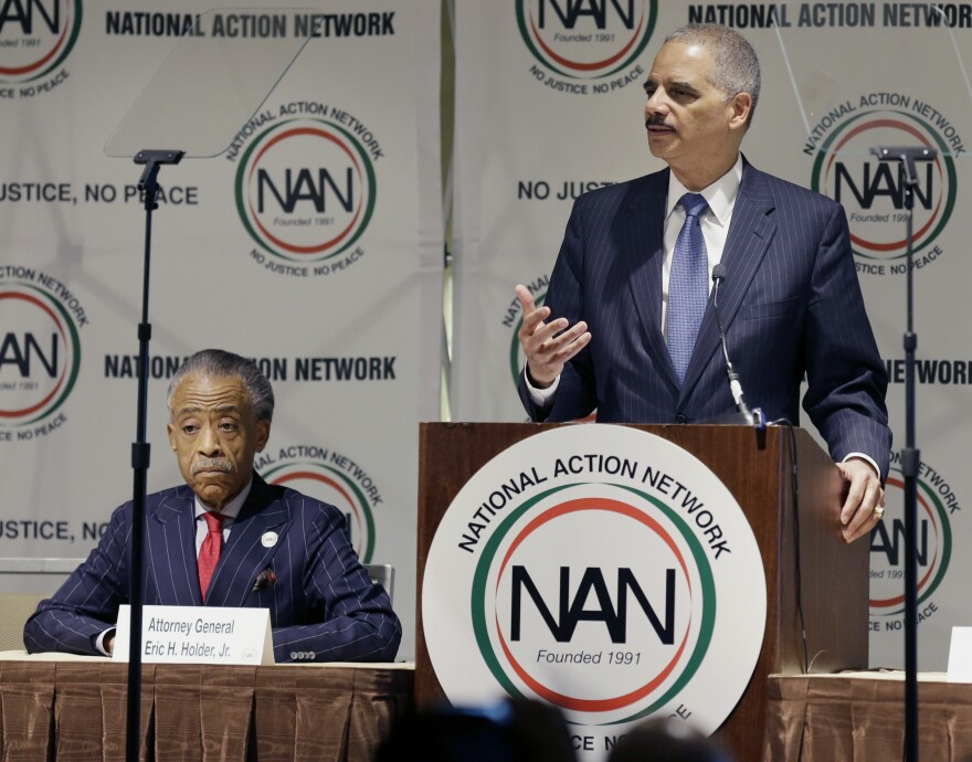 Attorney General Eric Holder (right) recently expressed outrage at the treatment President Obama and he have received from conservatives. He stopped just short of saying it was race-related, leaving that for the African-American audience at the recent National Action Network convention to decide.