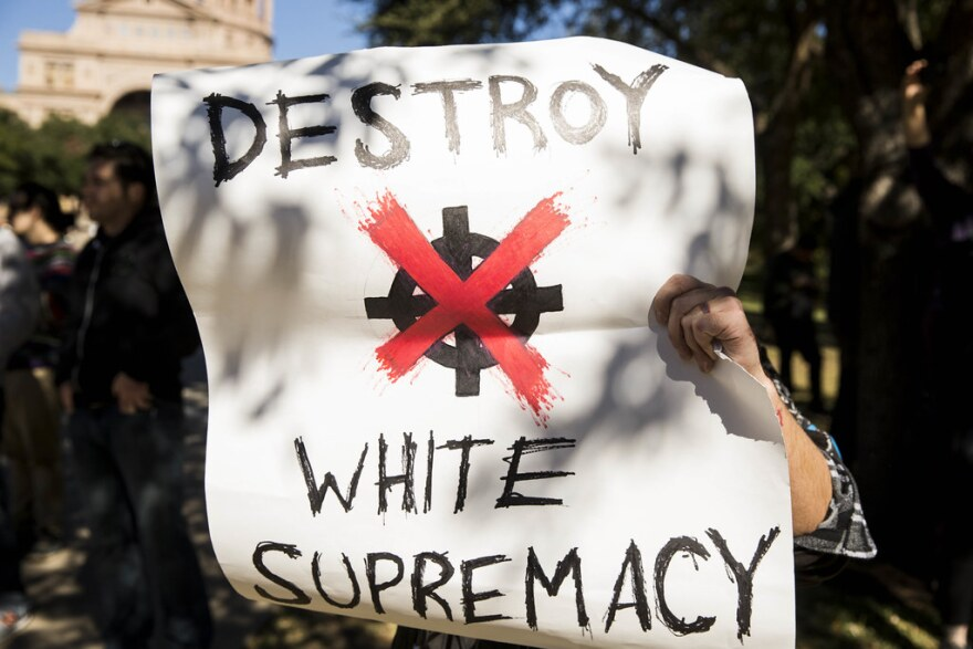 Following the unveiling of the Texas African American History Memorial on the grounds of the Texas State Capitol in November 2016, a demonstration by White Lives Matter supporters was met with large counterprotests by Smash Fascism Austin.
