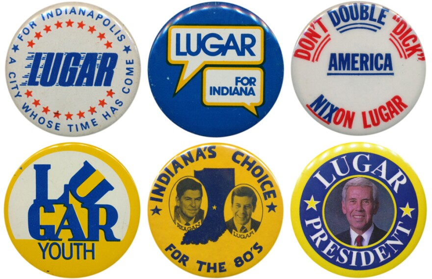 "Lugar's career in buttons: (1) first elected mayor of Indianapolis in 1967; (2) challenged Sen. Birch Bayh in 1974, but (3) running in a year when Watergate put Republicans on the defensive, and tarred as ""Richard Nixon's favorite mayor,"" he lost; (4) came back in 1976 and trounced Sen. Vance Hartke; (5) was a VP hopeful in 1980; (6) made a brief bid for the GOP presidential nomination in 1996."