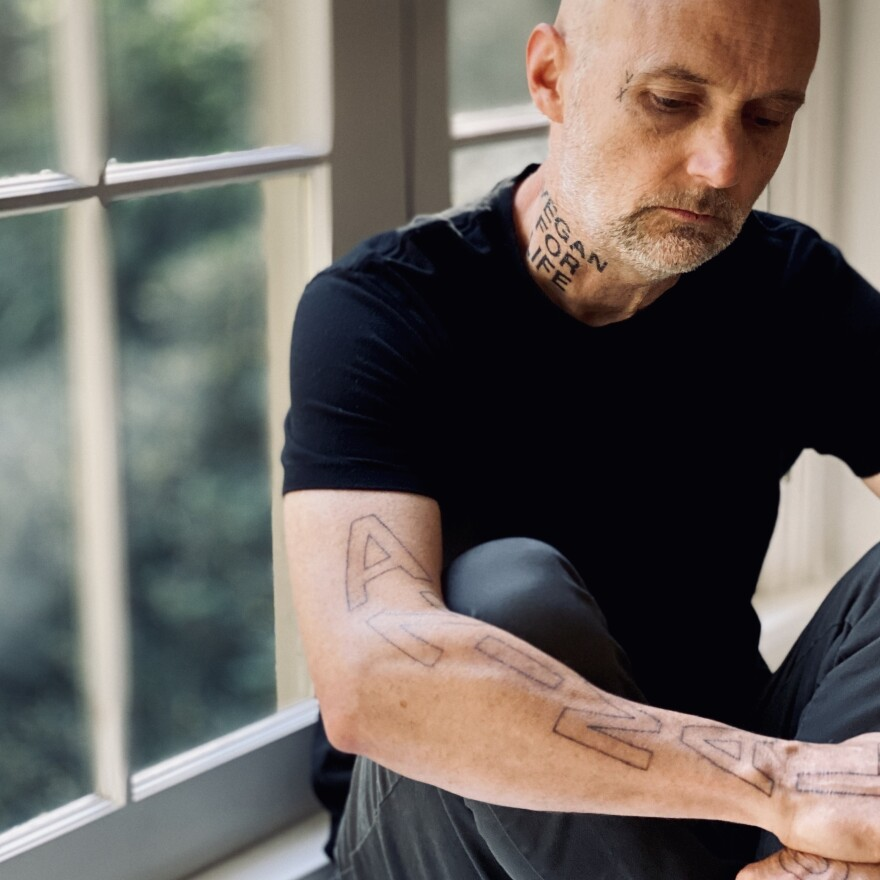 """Since his 54th birthday last year, Moby has gotten more than half a dozen tattoos affirming his devotion to animal rights. """"They are a declarative vow in public,"""" he says, """"a way of saying, 'These are my beliefs, and they are permanent.'"""""""