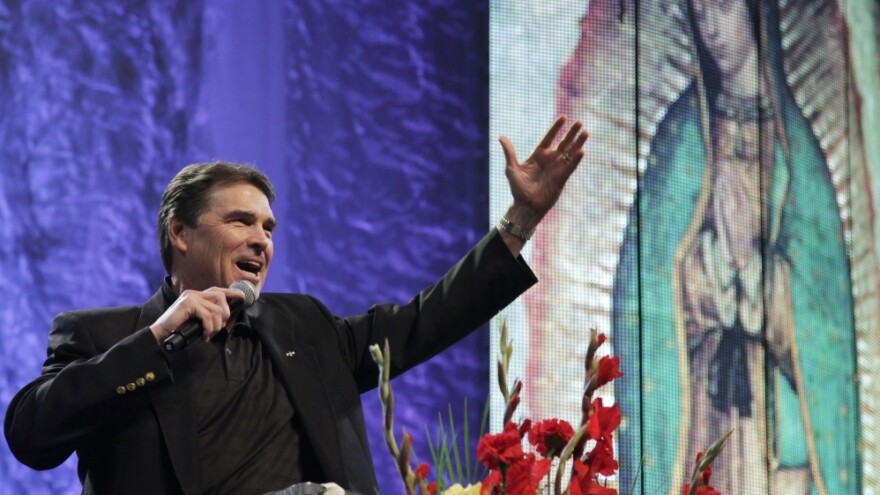 Texas Gov. Rick Perry speaks during a United for Life event organized by a Hispanic anti-abortion group at the Los Angeles Memorial Sports Arena on Sunday.