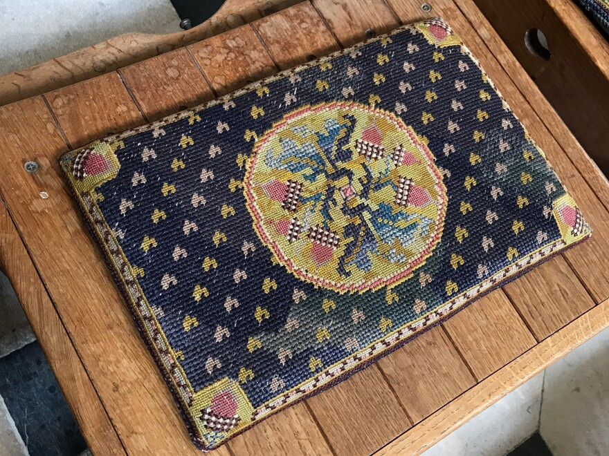 <em></em>Tracy Chevalier picked this cushion — still in use at Winchester Cathedral — to inspire her progagonist Violet Speedwell.