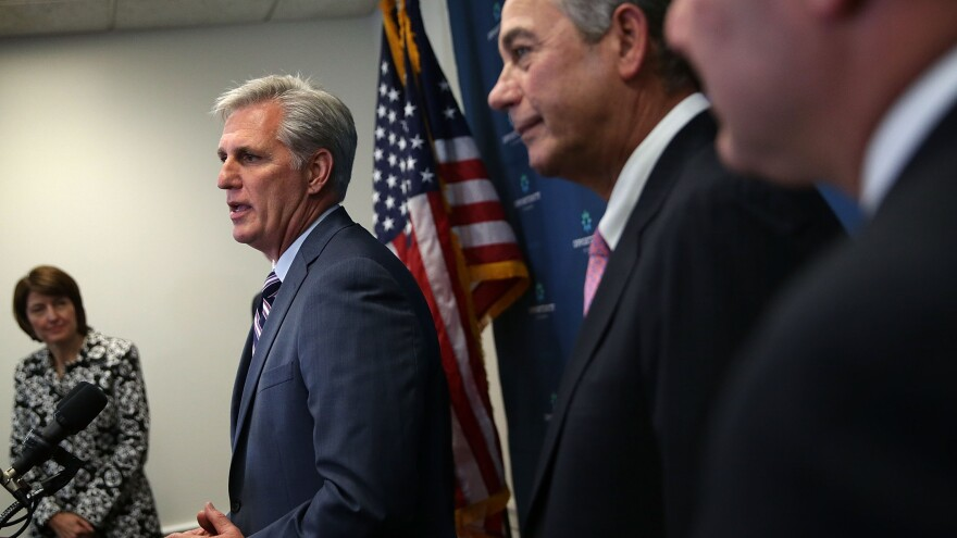 House Majority Leader Kevin McCarthy (left) speaks next to outgoing Speaker of the House Rep. John Boehner earlier this week.