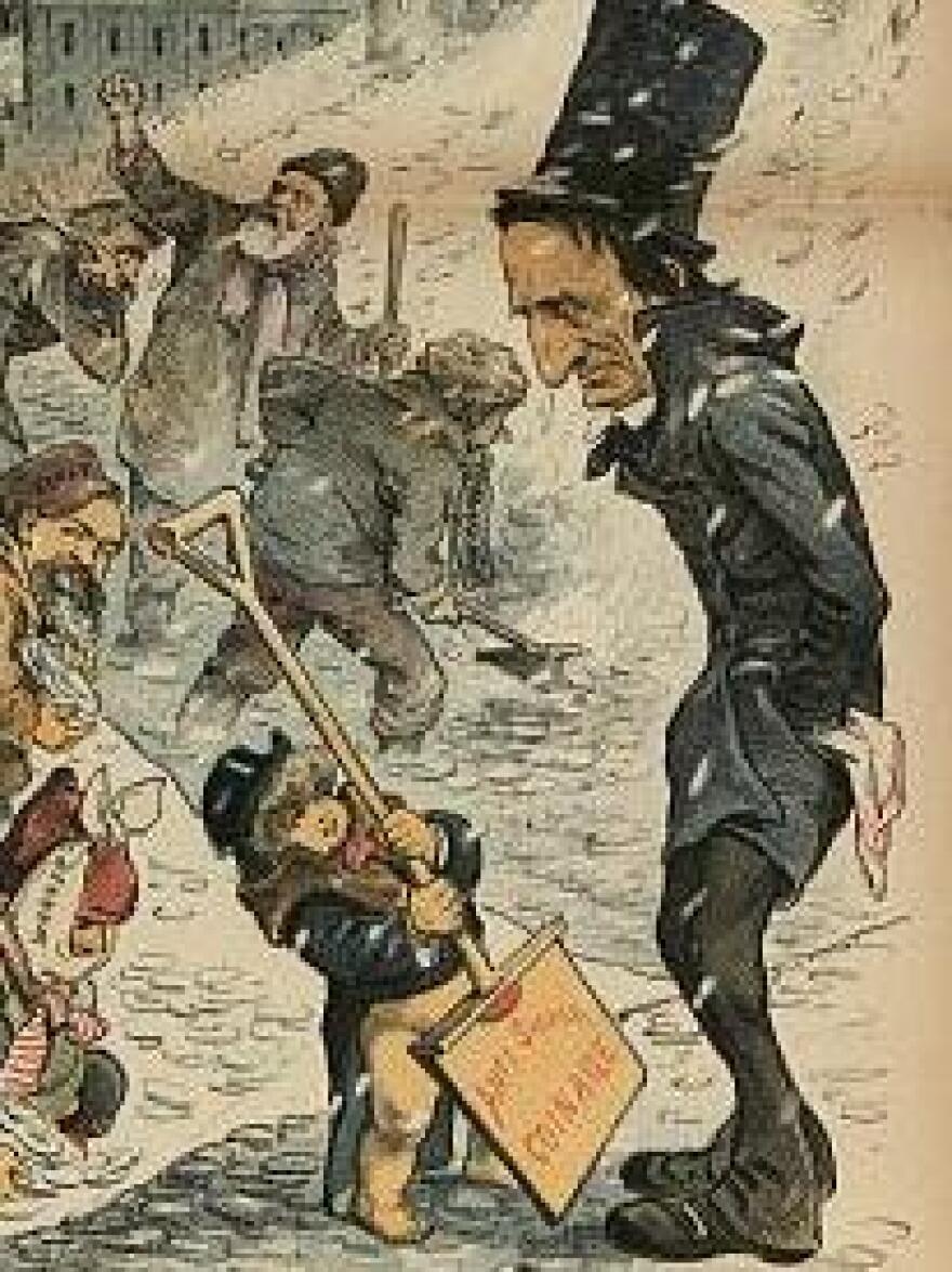 Cartoon of William M. Evarts, in his signature high hat, 1886.
