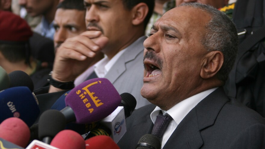 Yemeni President Ali Abdullah Saleh speaks at a pro-regime rally in the capital, Sanaa, on April 1. U.S. counterterrorism officials fear that Saleh's ouster could provide a boost to al-Qaida in the Arabian Peninsula.