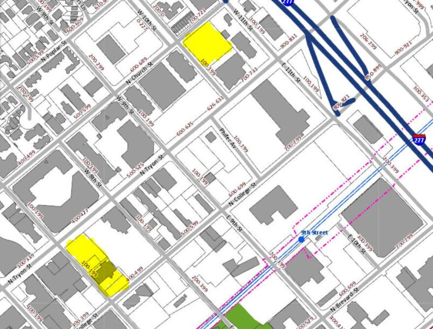 The two parcels are in the North Tryon Street corridor of uptown - one near Charlotte Ballet and the McColl Center (top) and one at 7th and Tryon.