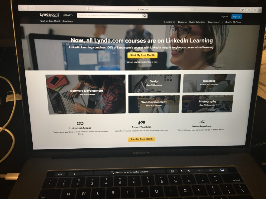 photo of computer with Lynda.com