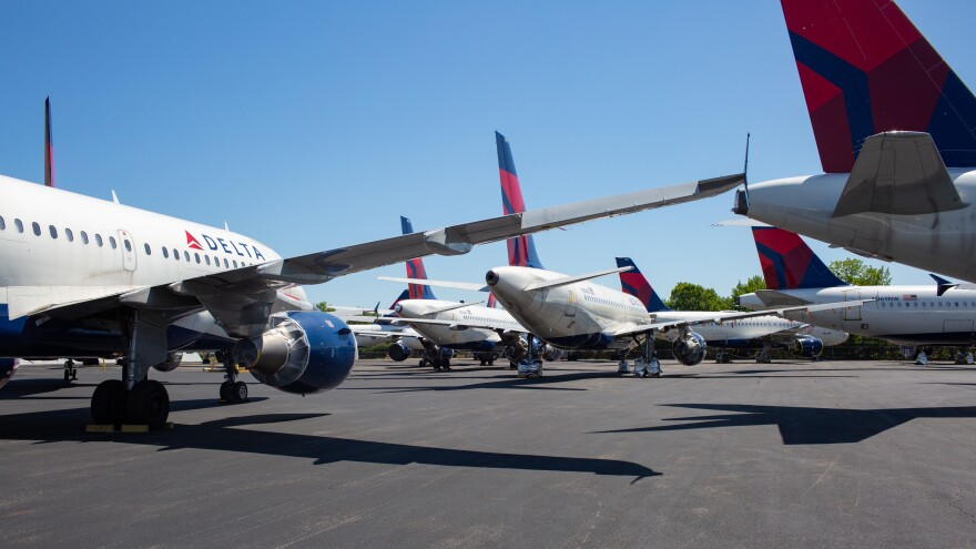 As passenger demand slumped because of the coronavirus pandemic, Delta parked dozens of unneeded jets at the Birmingham-Shuttlesworth International Airport in May.