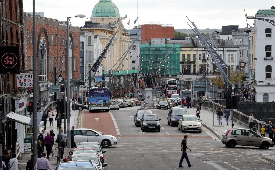 Traffic on the streets of Cork city center in southern Ireland.