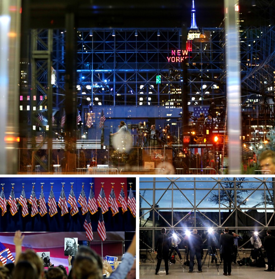(Above) Looking out from the Javits Center in Manhattan, New York City, at the start of Hillary Clinton's election night event. (Bottom left) The crowd reacts as they watch results roll in, and members of the media cover the race (bottom right) as attendees file in.