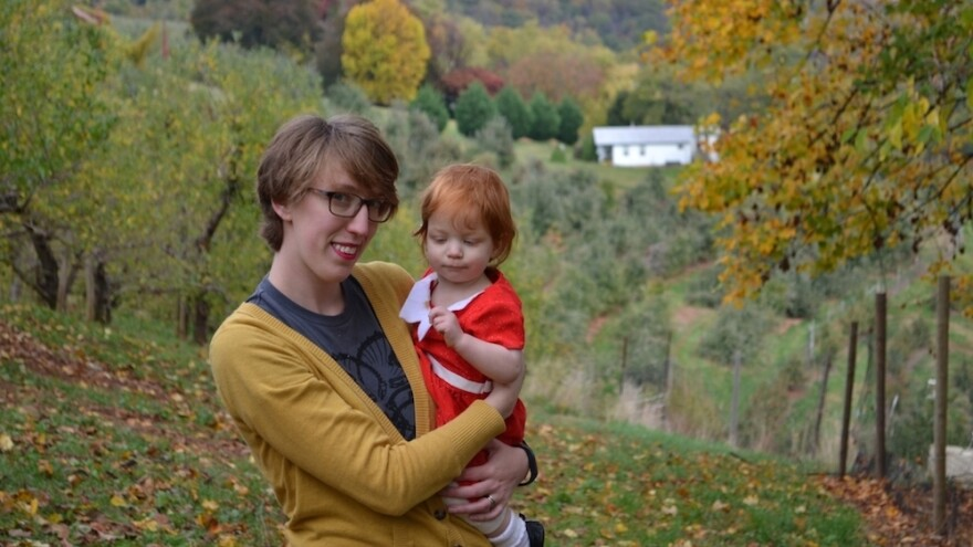 """Haley DeRoche, 30, is a public librarian in Richmond, Va. As a homeschooled teenage girl, DeRoche says <em>Brio </em>was a """"wholesome"""" magazine she could read without fear of offending her evangelical parents. She's pictured here in 2015 with her daughter, Winnie."""