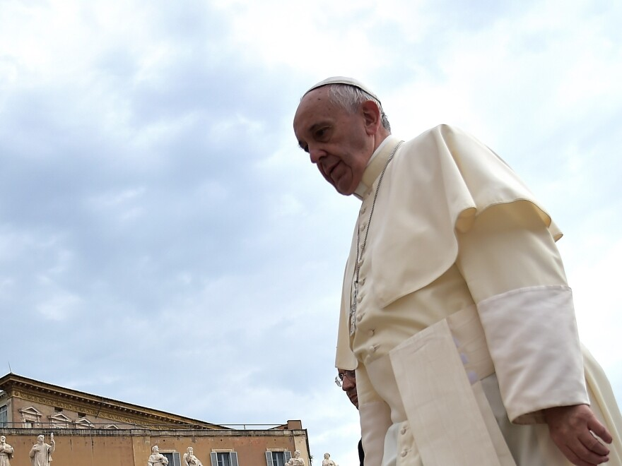 Pope Francis arrives in Saint Peter's square for his weekly audience at the Vatican on Sept. 2.