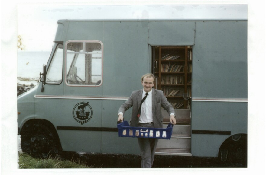 In this archival photo provided by Leabharlannan nan Eilean Siar, Donald J. Macdonald exits one of the mobile library vehicles. Macdonald served as the Uist mobile librarian from 1988 to 2003. The Outer Hebrides originally had three vans: two for Lewis and Harris, and one for North and South Uist.