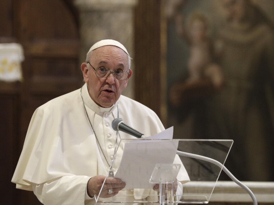 Pope Francis attends a interreligious ceremony for peace Tuesday in the Basilica of Santa Maria in Aracoeli in Rome.