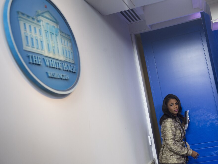 """Omarosa Manigault Newman, when she was still a White House staffer. She has since written a book about her time with the Trump administration, which prompted President Trump to call her a """"lowlife"""" on Twitter."""